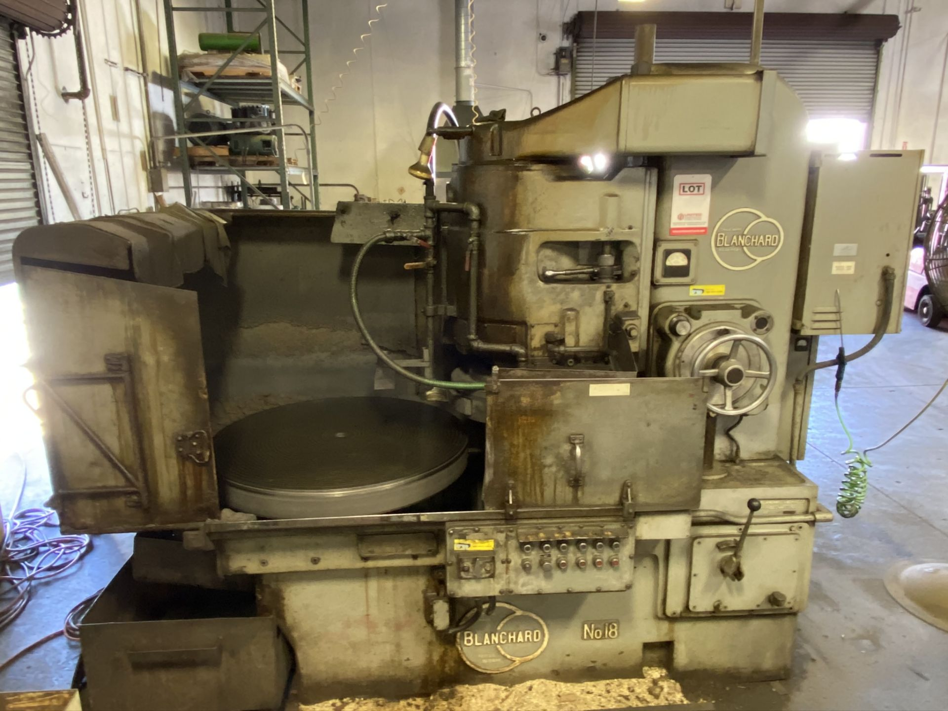 """Lot 0D - BLANCHARD 18-36 ROTARY SURFACE GRINDER, 36"""" TABLE, 42"""" INSIDE WATER GUARDS, 18"""" GRINDING WHEEL"""