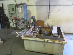 "HEAT TREATING/FLAME HARDENING MACHINE, BY FLAME TREATING SYSTEMS, INC., W/ 4' X 4' X 20"" IMMERSION"
