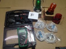 LOT - MULTIMETER, SOLDERING GUN, INDICATOR LED LIGHTS, SMC MAGNETIC SWITCHES