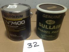 LOT - (1) GALLON SULLAIR GREEN COMPRESSOR PAINT (NEW) AND (1) GALLON RUSTOLEUM SAFETY ORANGE