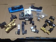 LOT - ASSORTMENT OF NEW SOLENOID VALVES, 110V, PARKER, ASCO