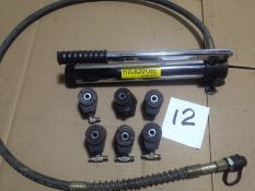 LOT - HYDRAULIC HAND PUMP (NEW) AND (6) VERTEK HYDRAULIC CLAMPING CYLINDERS