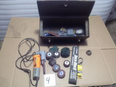 LOT - HANDHELD BELT SANDER, DURABLOCK SANDER, ASSORTMENT OF SANDING AND POLISHING BITS W/ SHANK