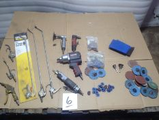 LOT - AIR BLOW GUNS, AIR SAW, AIR IMPACT GUN, AIR DIE GRINDER W/ ASSORTMENT OF DISCS