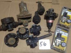 LOT - (2) NEW PANEL MOUNT PRESSURE REGULATORS AND ASSORTED PILOT PRESSURE REGULATORS (USED,
