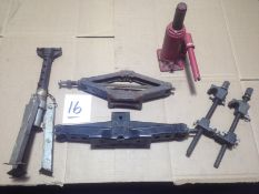 LOT - SCISSOR JACKS, BOTTLE JACK, JACK STAND, COIL SPRING COMPRESSOR