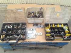LOT - (3) BINS OF PNEUMATIC AND HYDRAULIC FITTINGS AND VALVES; TUBE BENDER AND CUTTER