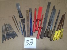 LOT - ASSORTED HAND TOOLS, FILES, CHISELS