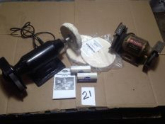 "LOT - (1) 8"" POLISHING AND GRINDING MACHINE AND (1) RYOBI 6"" BENCH GRINDER"