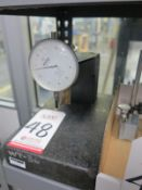 "8"" X 9"" X 2-3/8"" GRANITE CHECK STAND SURFACE PLATE AND MITUTOYO NO. 4803-10 DIAL INDICATOR,"