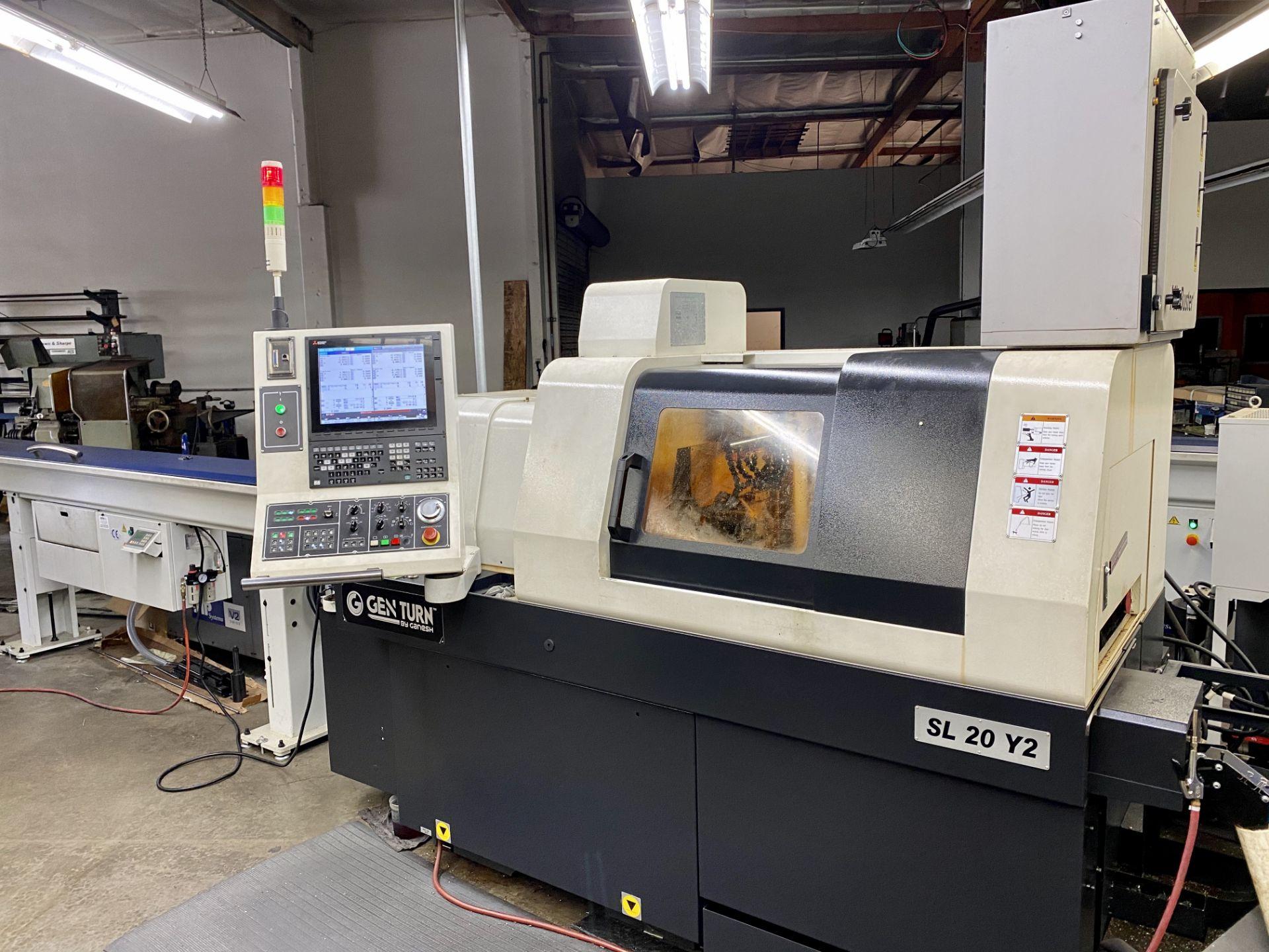 Lot 0A - 2018 GANESH GENTURN SL20Y2, 8-AXIS CNC SWISS TYPE CNC LATHE, S/N 0306