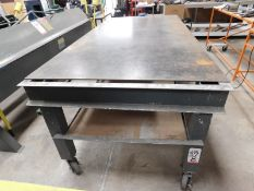 """WELDING TABLE, STEEL TOP, ALUMINUM FRAME, ON CASTERS, 100"""" X 48-1/2"""""""