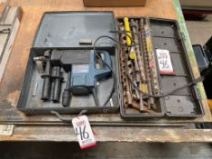 """LOT - BOSCH 11244E 1-1/2"""" SPLINE ROTARY HAMMER, W/ METAL CASE, PLUS LARGE CASE OF LARGE AUGER AND"""