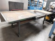 """CENTRAL MACHINERY 10"""" TABLE SAW, MODEL T36727, W/ BIESEMEYER FENCE SYSTEM, TABLE IS 124"""" X 51"""", ON"""