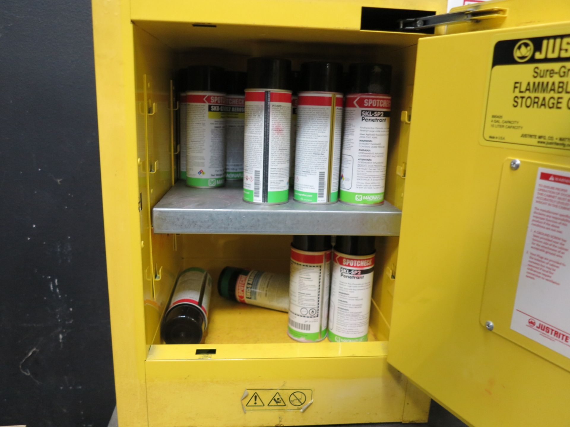 Lot 724 - JUSTRITE 4-GALLON FLAMMABLE STORAGE CABINET, W/ CONTENTS