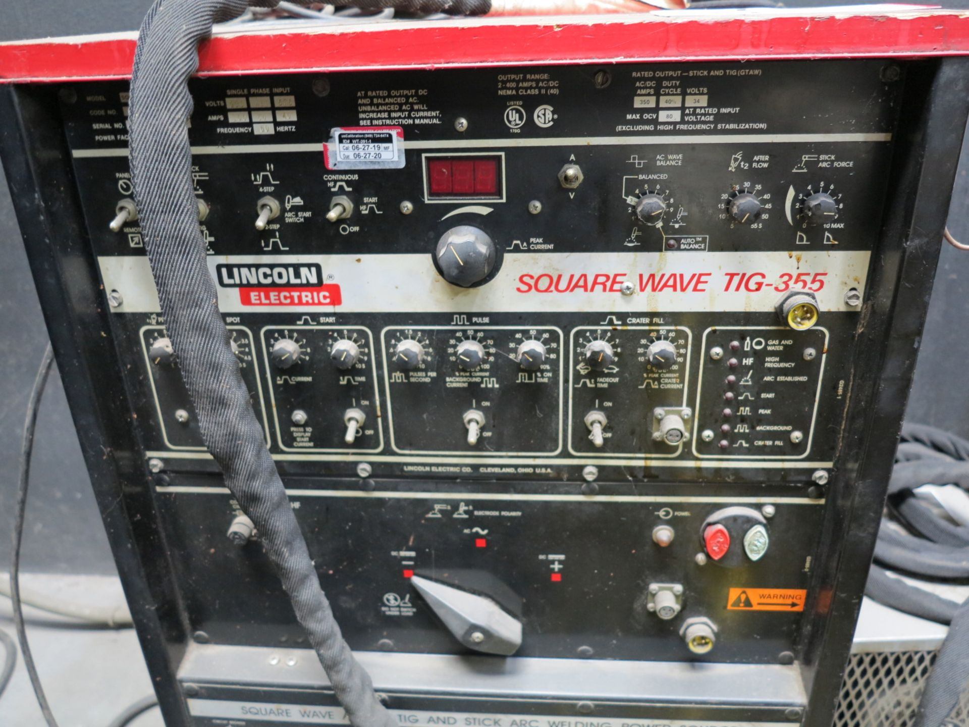 Lot 717 - LINCOLN ELECTRIC SQUARE WAVE 355 TIG WELDER, W/ WELDCRAFT WATER CHILLER