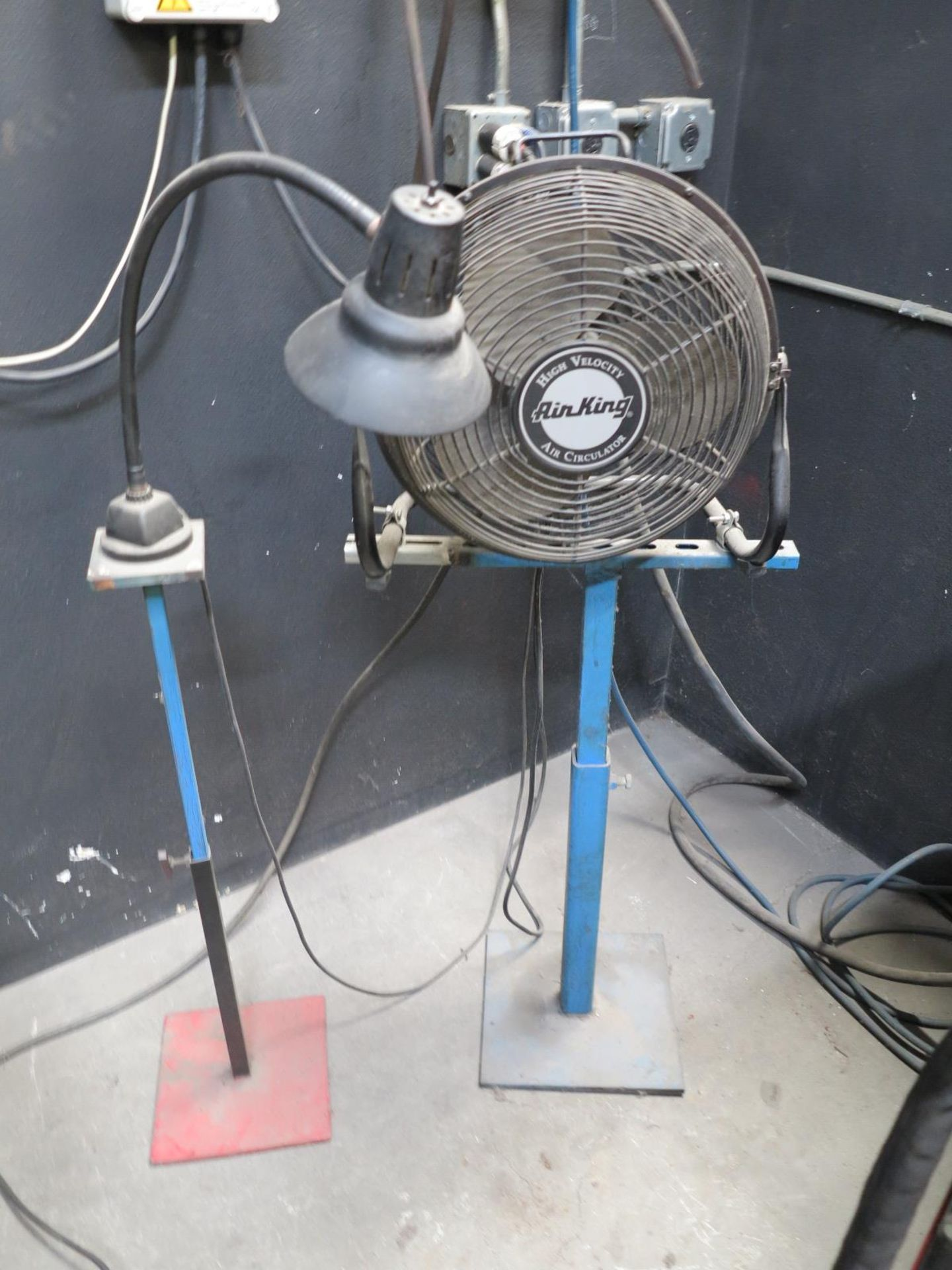 Lot 715 - LOT - (4) SMALL MATERIAL STANDS, (1) FAN W/ STAND AND (1) LIGHT W/ STAND