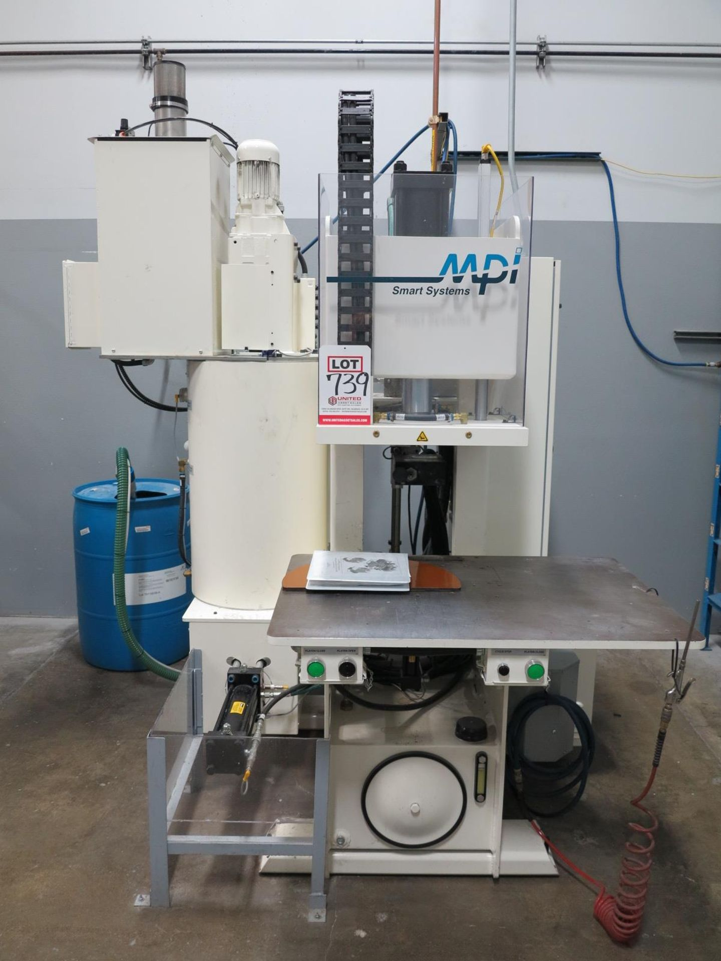 """Lot 739 - 2018 MPI SYSTEMS SM 55-25-18 C FRAME WAX INJECTOR, 25 TON, MPR SMART CONTROLS II, 12"""" COLOR OPERATOR"""