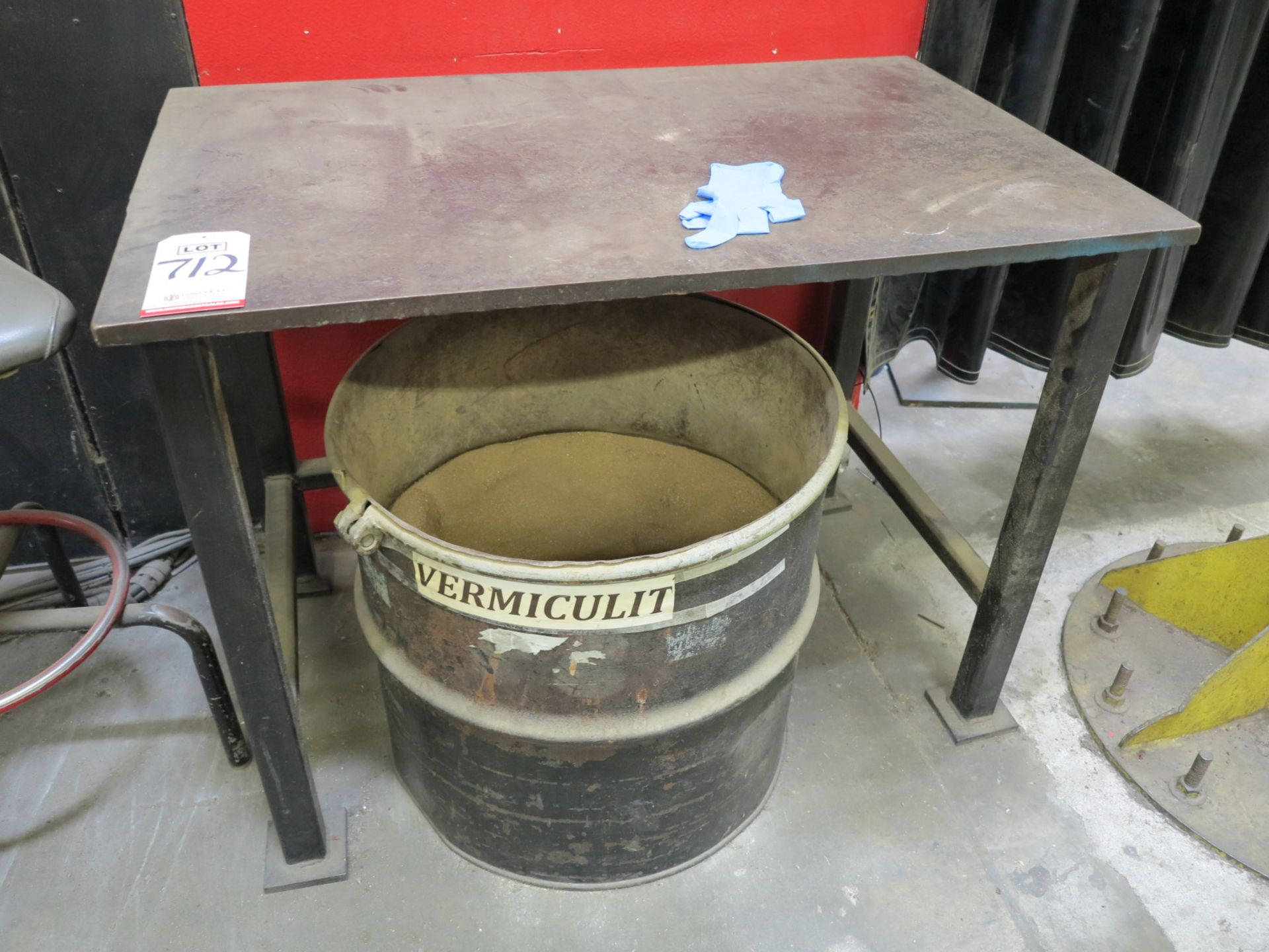 """Lot 712 - WELDING TABLE, 41"""" X 25-1/2"""" X 34"""" TALL, 7/8"""" THICK"""