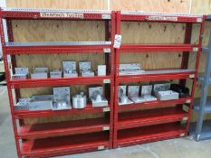 LOT - (3) RED SHELF UNITS, CONTENTS NOT INCLUDED