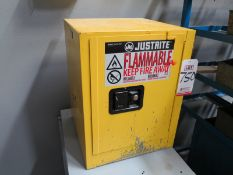 JUSTRITE 4-GALLON FLAMMABLE STORAGE CABINET, W/ CONTENTS