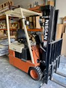 NISSAN ELECTRIC FORKLIFT, MODEL OT30S, 3-STAGE MAST, 2,700 LB CAPACITY, S/N 0T30S-B96-70058, W/