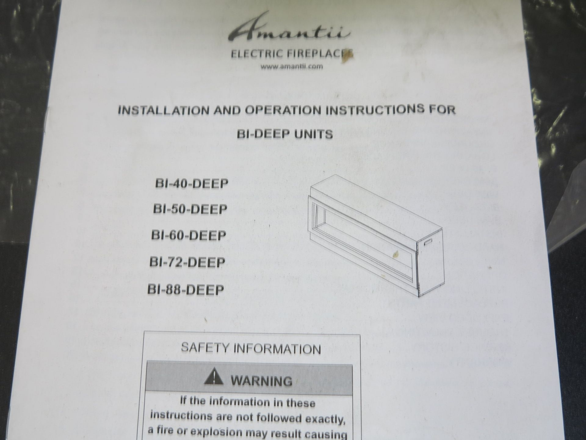 AMANTII BI-DEEP ELECTRIC FIREPLACE INSERT, MODEL BI50-DEEP - Image 2 of 2