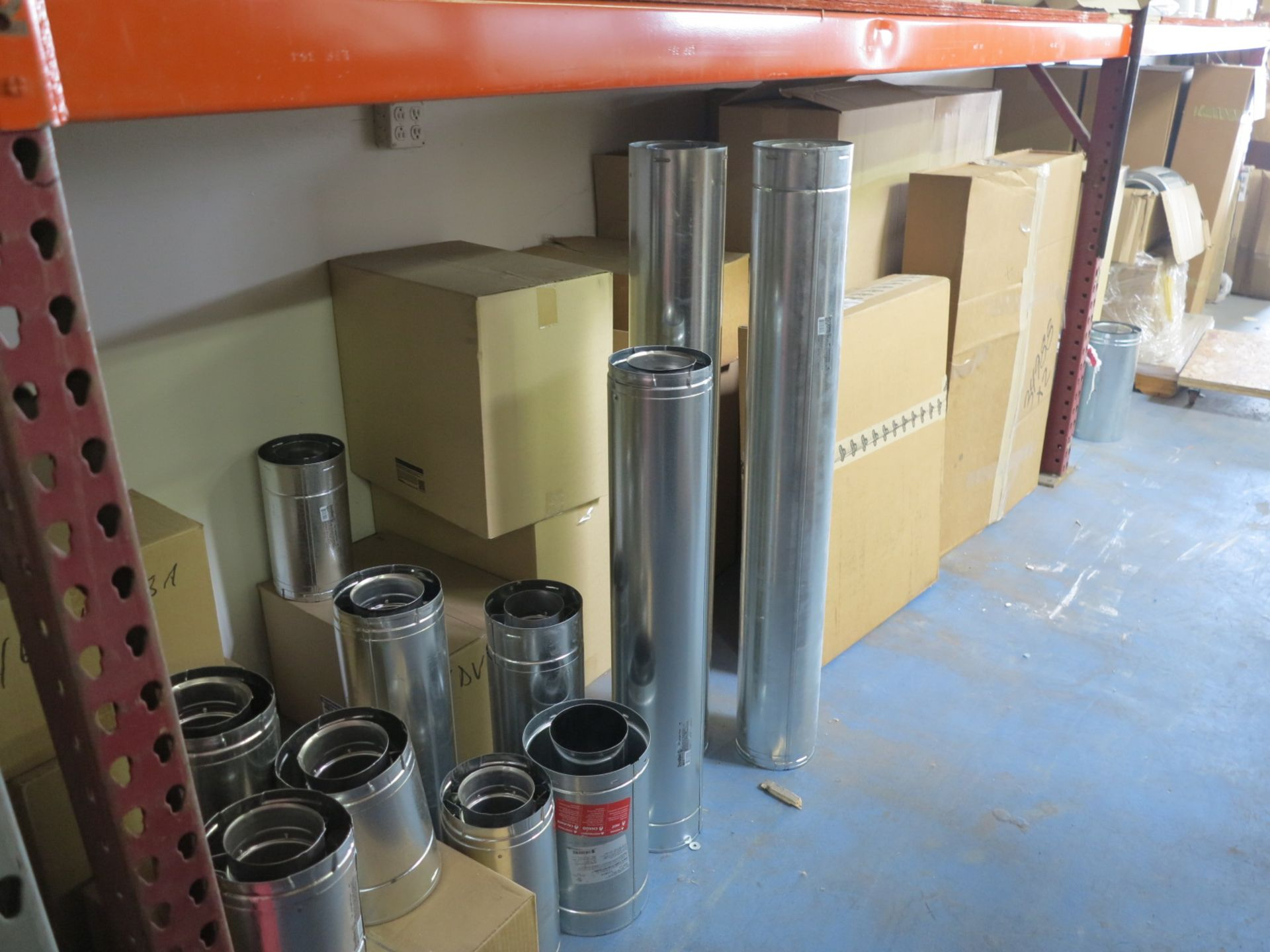 LOT - CONTENTS OF (1) SECTION OF PALLET RACKING, MISC STOVE PARTS