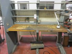 "WORKBENCH, 76"" X 26"", W/ MAGNIFYING LAMP"