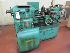 "1946 MONARCH 10"" EE LATHE, 12.5"" ACTUAL SWING, 20"" DISTANCE BETWEEN CENTERS, S/N 28522, STEADY REST,"