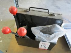 LOT - SMALL BANDING CADDY, W/ CONTENTS: METAL BAND, CLIPS AND ALL TOOLS