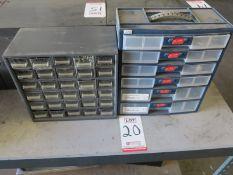 LOT - (2) PARTS BINS, W/ CONTENTS: ELECTRONIC PARTS, HARDWARE, ETC.
