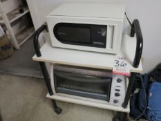 LOT - (2) MICROWAVES AND (1) SERVICE CART
