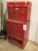 PROTO 5-DRAWER MOBILE TOOL BOX, W/ 10-DRAWER UPPER TOOL BOX, W/ MISC CONTENTS