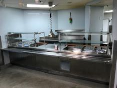 """154"""" STAINLESS STEEL 8-PAN FOOD SERVICE TABLE, W/ (4) DUNHILL REFRIGERATED PANS AND (4) STEAM"""