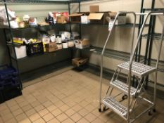 LOT - CONTENTS OF ROOM, TO INCLUDE: CONDIMENTS, TUBS, MILK CRATES, COTTERMAN 3-STEP SAFETY LADDER,