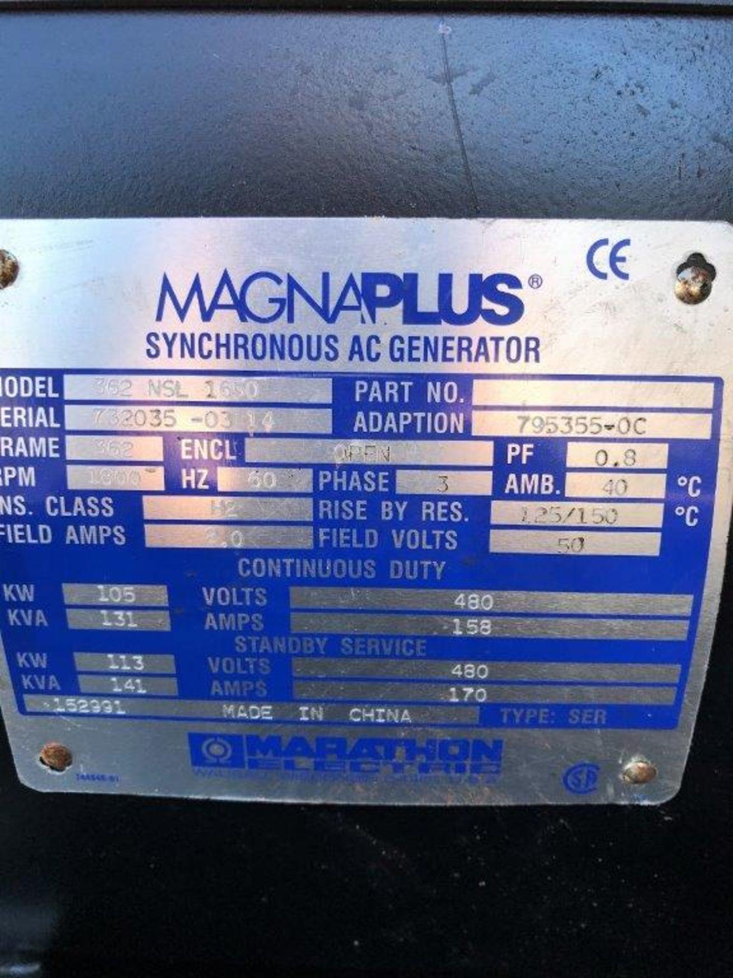 MAGNUM 100 GENERATOR, 107 KVA, 480 VAC, 3 PHASE, JOHN DEERE 4045HF ENGINE, S/N 732035-03 14, UNDER - Image 7 of 10