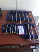"LOT - IRWIN C-CLAMPS: (9) 6"" AND (6) 3"" (LOCATION: FLEX CONTAINER)"