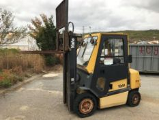 YALE FORKLIFT, MODEL GDP050, 5,000 LB CAP, DIESEL, SOLID CUSHION TIRES, HEATED ENCLOSED CAB, 3-STAGE