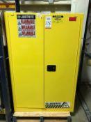 "JUSTRITE 2-DOOR 90-GALLON FLAMMABLE LIQUIDS STORAGE CABINET, MODEL 899020, 43"" X 34"" X 65"" TALL ("