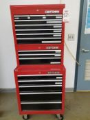 CRAFTSMAN 16-DRAWER MOBILE TOOL BOX W/ (2) STACKABLE SECTIONS, W/ CONTENTS: ASSORTED HAND TOOLS (