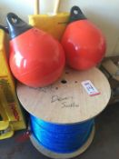 "LOT - SAMSON 3/4"" DIA. 1,600' NYLON ROPE AND (2) TAYLOR ORANGE 15"" BUOYS (LOCATION: FLEX CONTAINER)"
