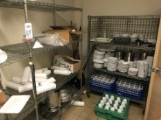 LOT - CONTENTS OF ROOM, TO INCLUDE: GLASS AND PLASTIC PLATES, GLASSES, CUPS, BOWLS, TRAYS ETC., TO