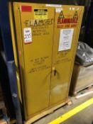 "JUSTRITE 2-DOOR 60-GALLON FLAMMABLE LIQUIDS STORAGE CABINET, MODEL 25600, 34"" X 34"" X 65"" TALL ("