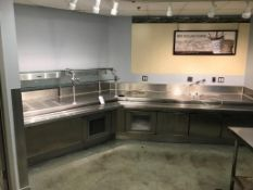 """ANGLED STAINLESS STEEL FOOD SERVICE TABLE, APPROX. 14', W/ 68"""" HEAT LAMP"""