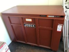 "JOBOX, MODEL 1-657990, 60"" X 30"" X 42"" DEEP, W/ CONTENTS: PPE, PLASTIC GAS CONTAINERS, ETC. ("