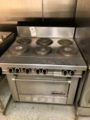 """GARLAND 6-BURNER ELECTRIC COOK TOP, 36"""" X 36"""", W/ 24"""" X 20"""" OVEN COMPARTMENT"""