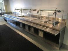 """234"""" STAINLESS STEEL FOOD SERVICE TABLE, W/ 6' SALAD BAR CHILLER APW MODEL CW-5 COOLING UNIT, DUAL"""