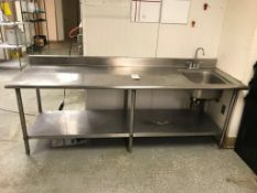 8' STAINLESS STEEL TABLE W/ SINK
