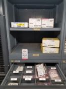 LOT - CONTENTS ONLY OF (10) VIDMAR CABINETS, CONSISTING OF ASSORTED HARDWARE, GASKETS, ELECTRICAL